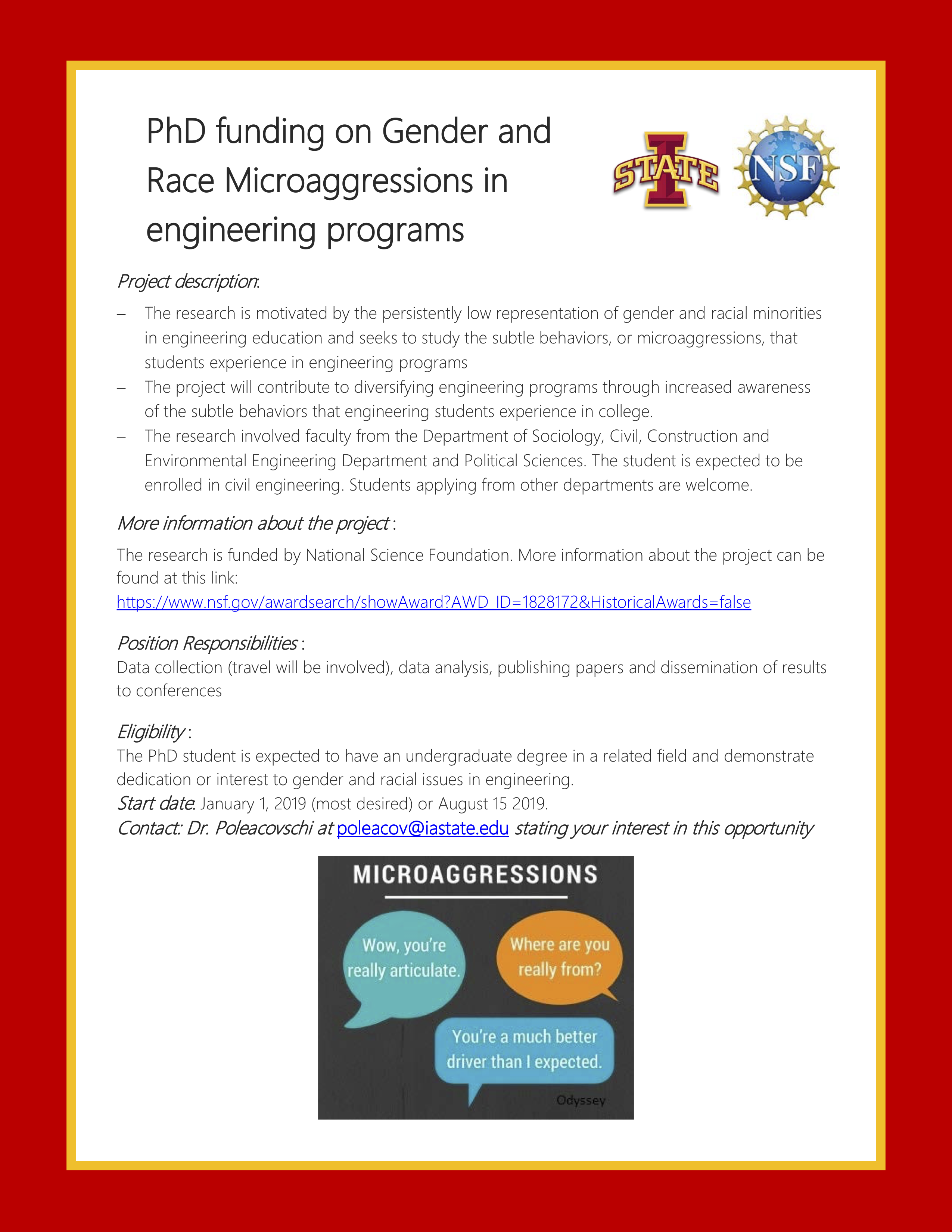 PhD Position for Microaggressions in Engineering Programs